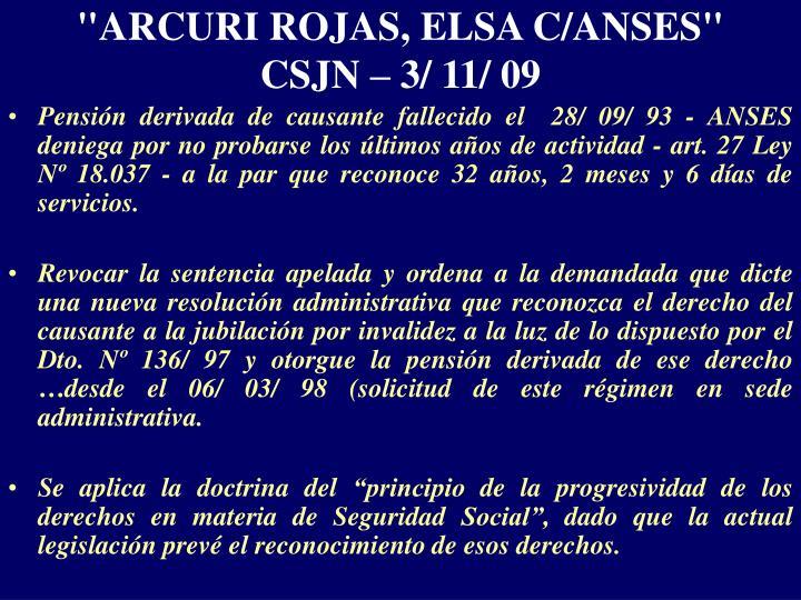 """""""ARCURI ROJAS, ELSA C/ANSES"""""""