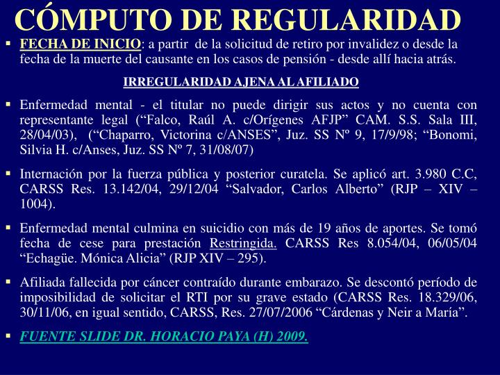 CÓMPUTO DE REGULARIDAD