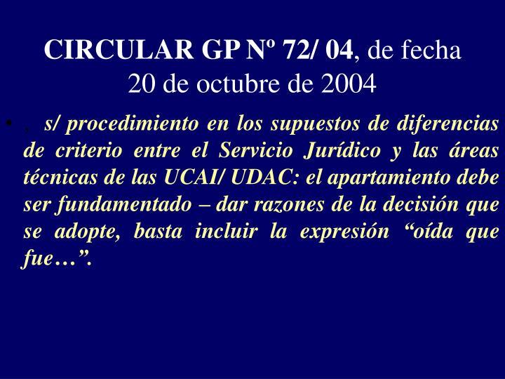 CIRCULAR GP Nº 72/ 04