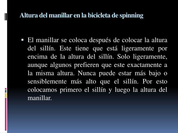 Altura del manillar en la bicicleta de spinning