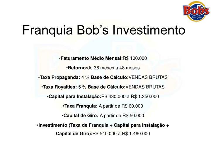 Franquia Bob's Investimento
