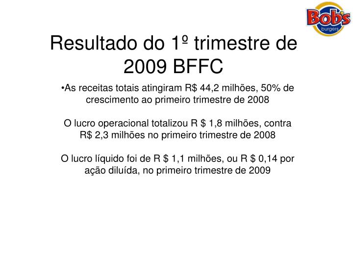 Resultado do 1º trimestre de 2009 BFFC
