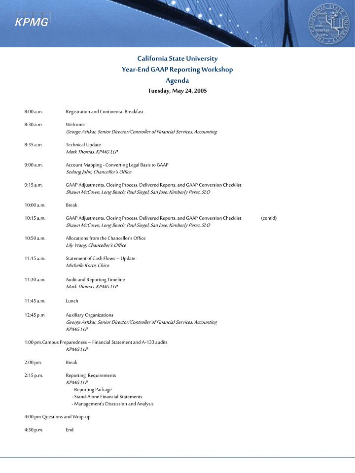 California state university year end gaap reporting workshop agenda tuesday may 24 2005