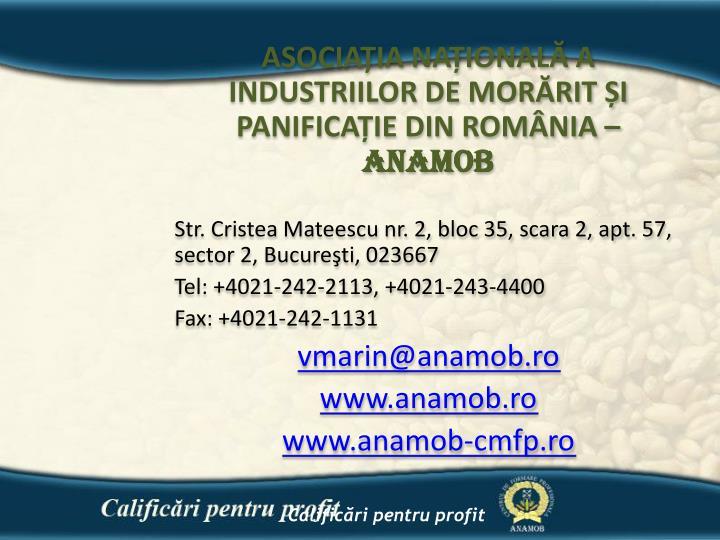 ASOCIAȚIA NAȚIONALĂ A INDUSTRIILOR DE MORĂRIT ȘI PANIFICAȚIE DIN ROMÂNIA –