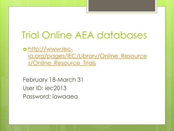 Trial Online AEA databases