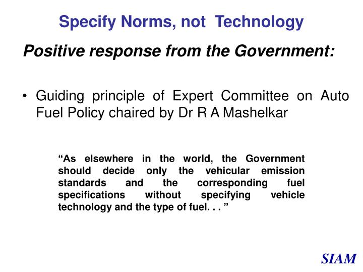Specify Norms, not  Technology