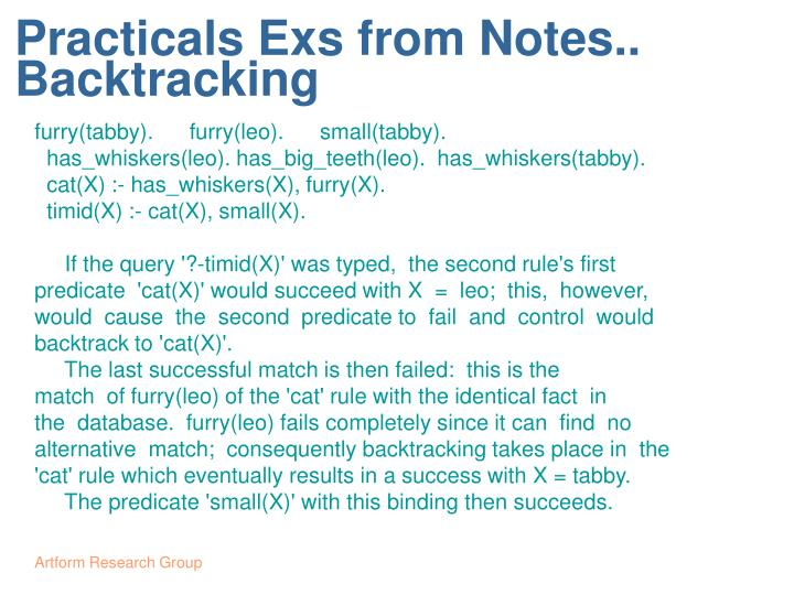 Practicals Exs from Notes..
