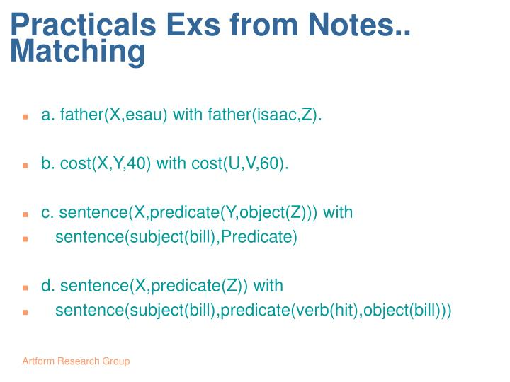Practicals Exs from Notes..  Matching