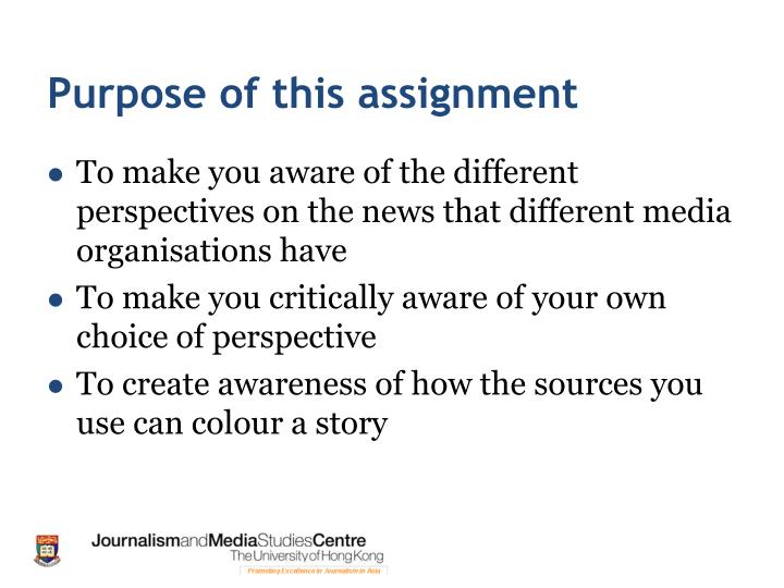 Purpose of this assignment
