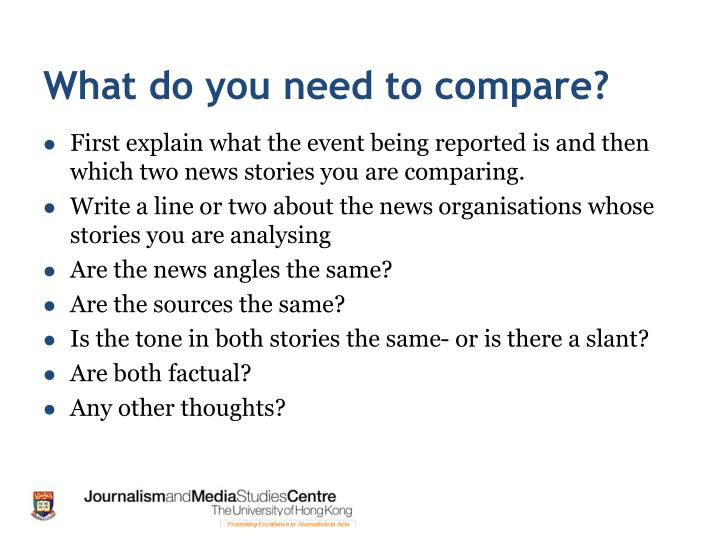 What do you need to compare?