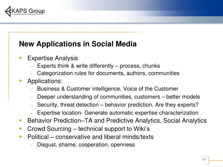 New Applications in Social Media
