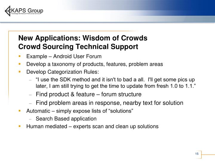 New Applications: Wisdom of Crowds