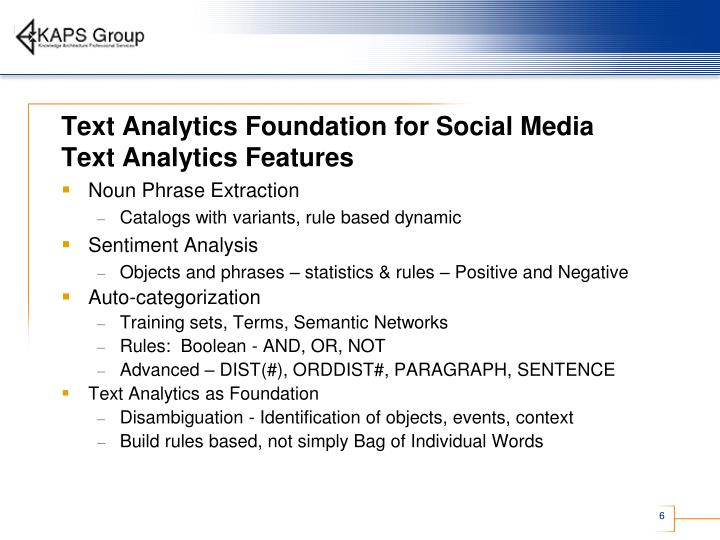 Text Analytics Foundation for Social Media