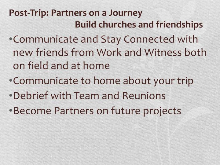 Post-Trip: Partners on a Journey