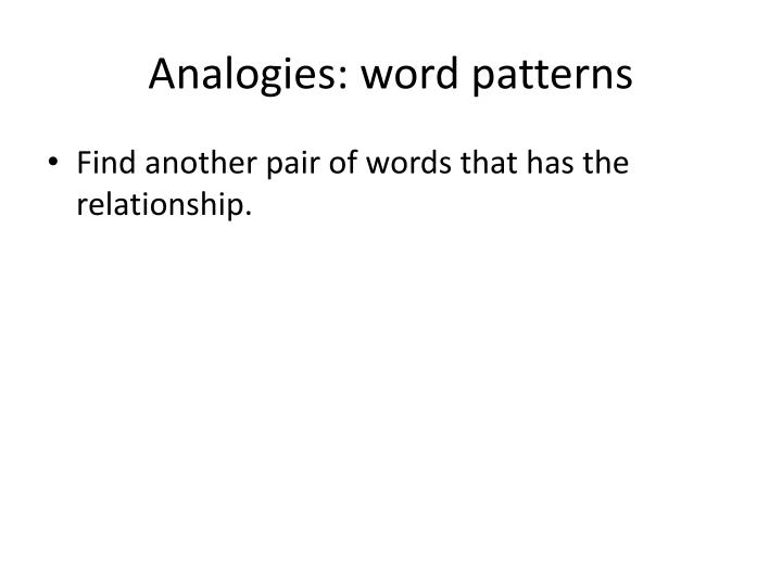 Analogies word patterns