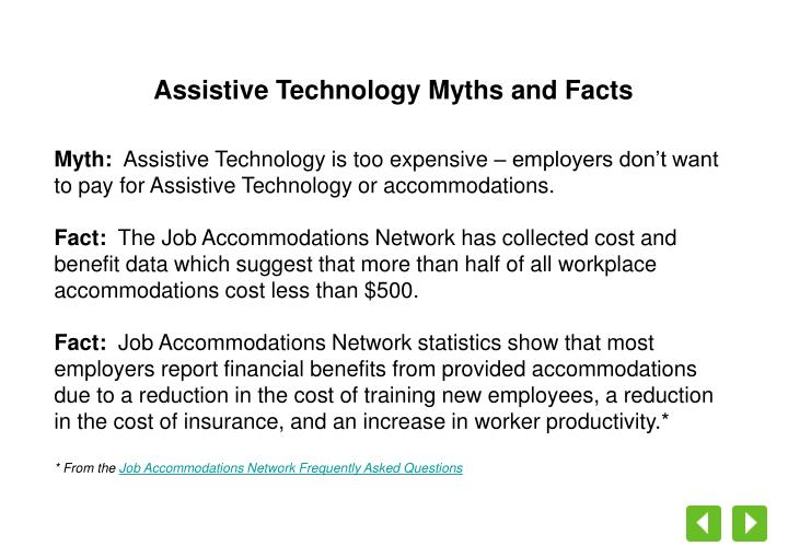 Assistive Technology Myths and Facts
