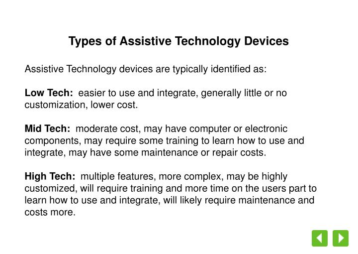 Types of Assistive Technology Devices
