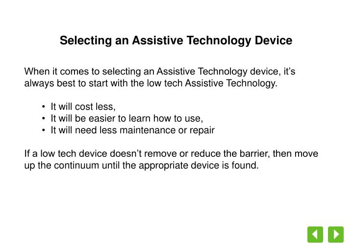 Selecting an Assistive Technology Device