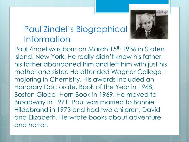Paul zindel s biographical information