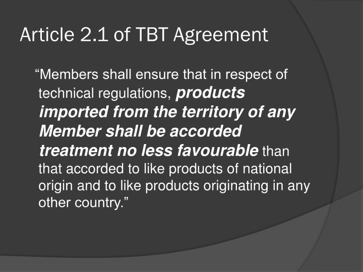 Article 2 1 of tbt agreement