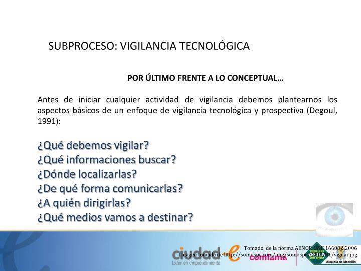 SUBPROCESO: VIGILANCIA TECNOLÓGICA