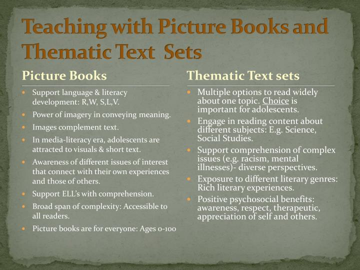 Teaching with Picture Books and Thematic Text  Sets