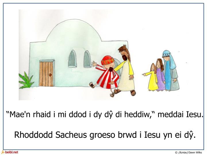 """""""Mae'n rhaid i mi ddod i dy dŷ di heddiw,"""" meddai Iesu."""