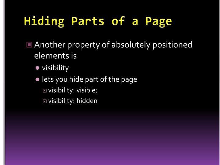 Hiding Parts of a Page