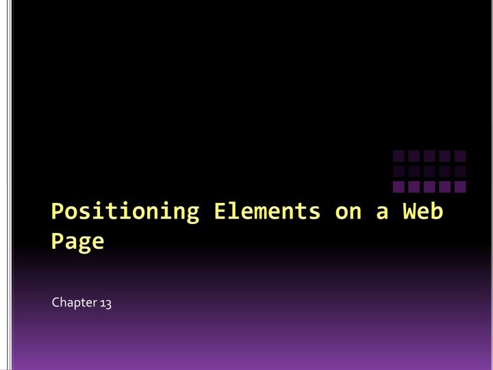 Positioning elements on a web page