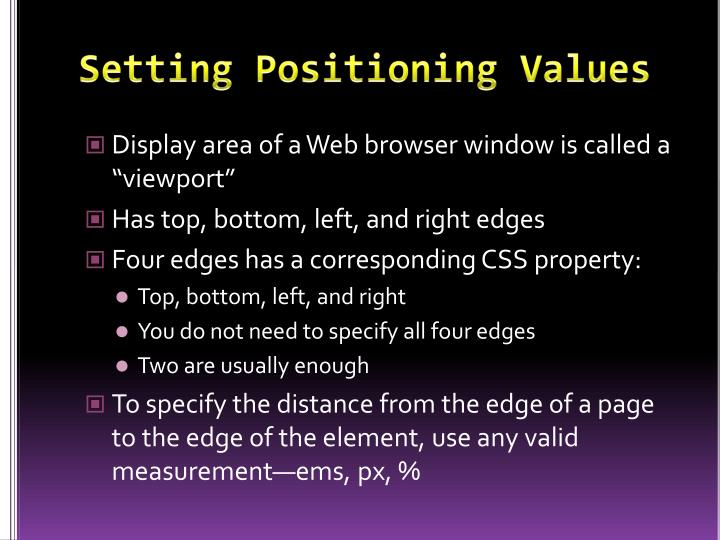 Setting Positioning Values