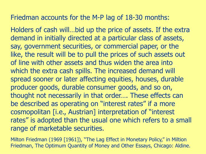 Friedman accounts for the M-P lag of 18-30 months: