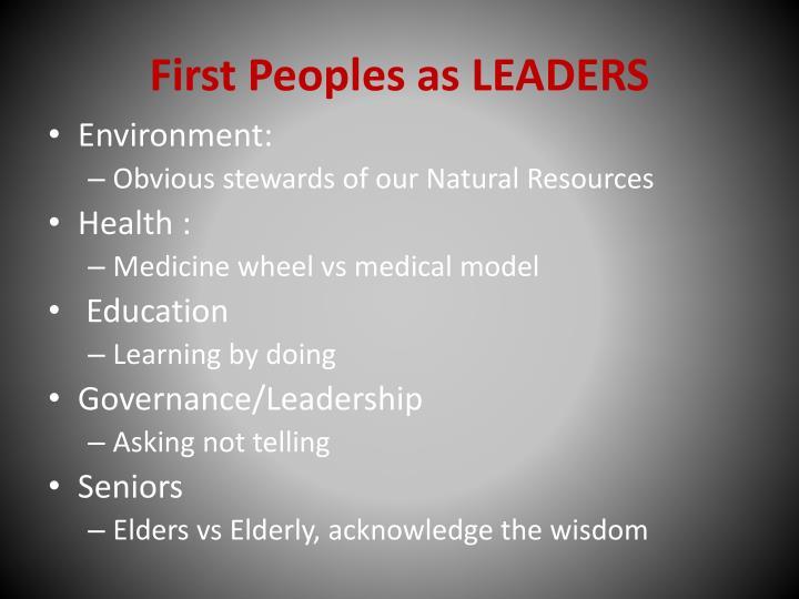 First Peoples as LEADERS