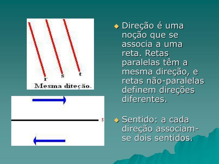 Direção é uma noção que se associa a uma reta. Retas paralelas têm a mesma direção, e retas não-paralelas definem direções diferentes.