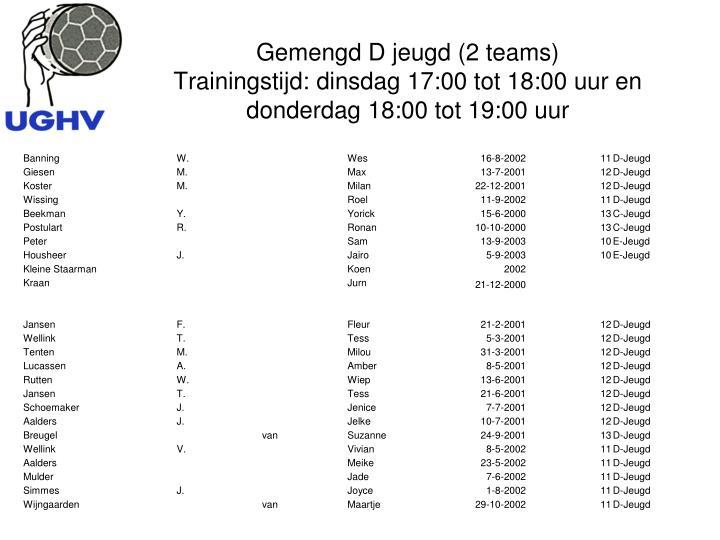 Gemengd D jeugd (2 teams)
