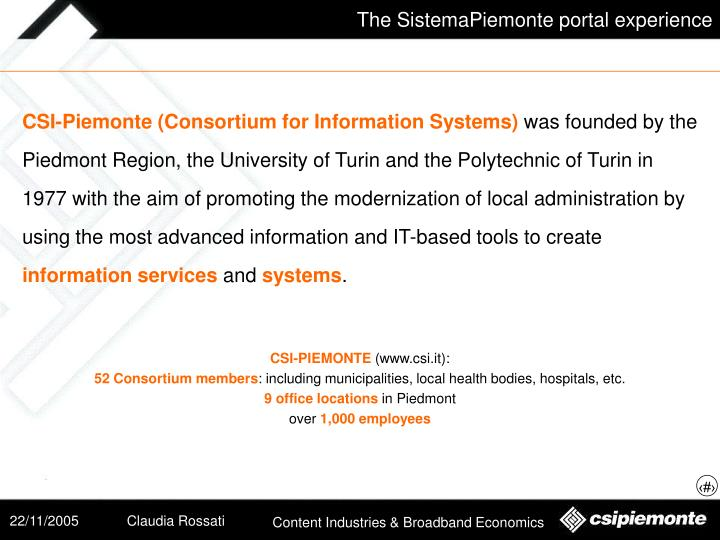 CSI-Piemonte (Consortium for Information Systems)