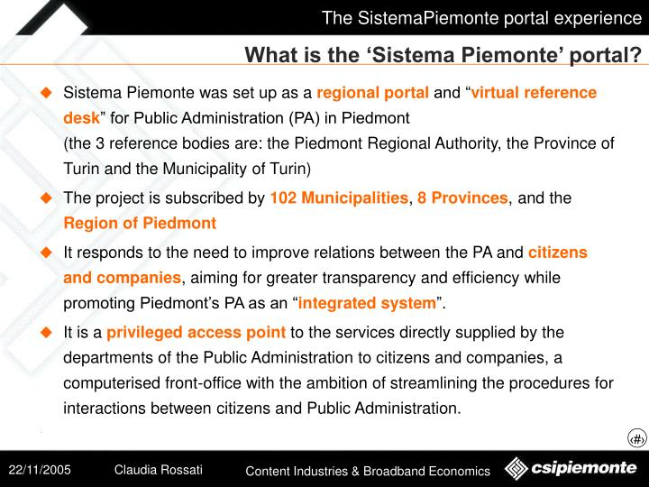What is the 'Sistema Piemonte' portal?