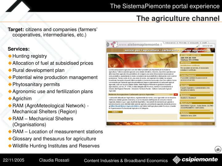 The agriculture channel