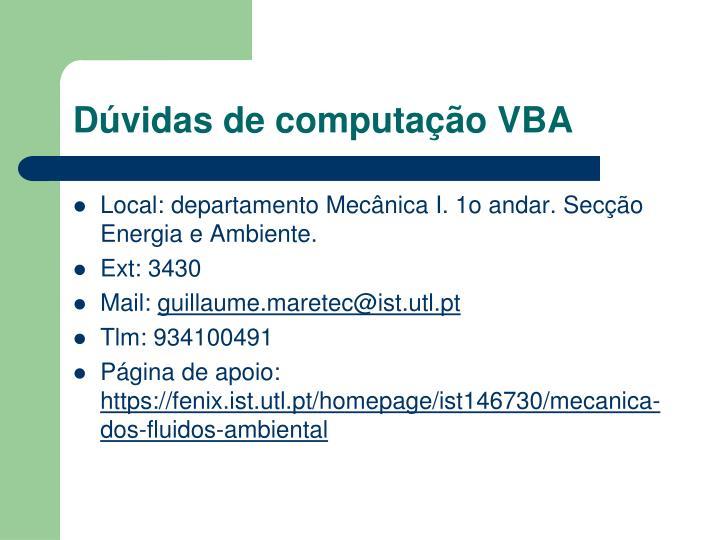 Dúvidas de computação VBA