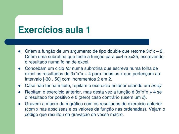 Exercícios aula 1