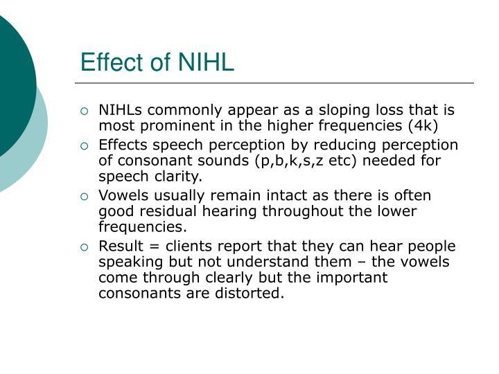 Effect of NIHL
