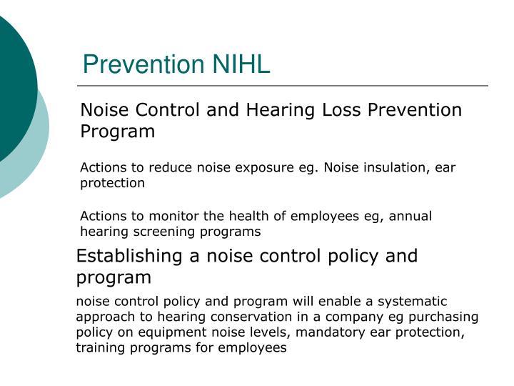 Prevention NIHL