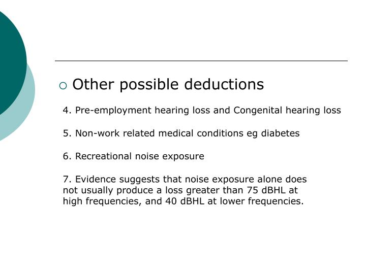 Other possible deductions