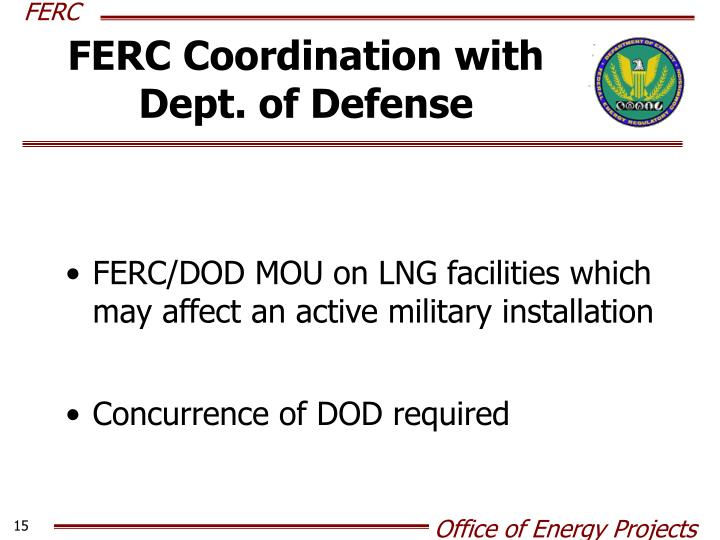 FERC Coordination with Dept. of Defense