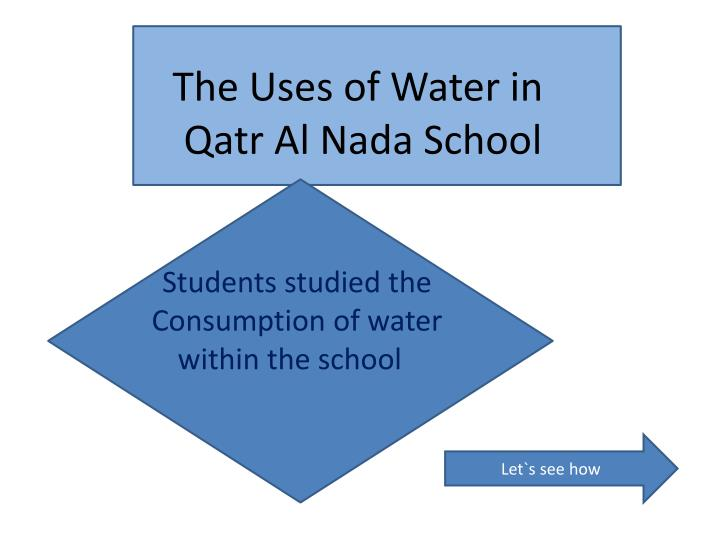 The uses of water in qatr al nada school