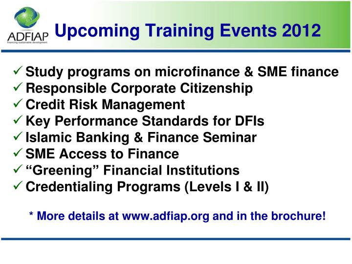 Study programs on microfinance & SME finance