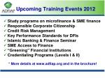 upcoming training events 2012