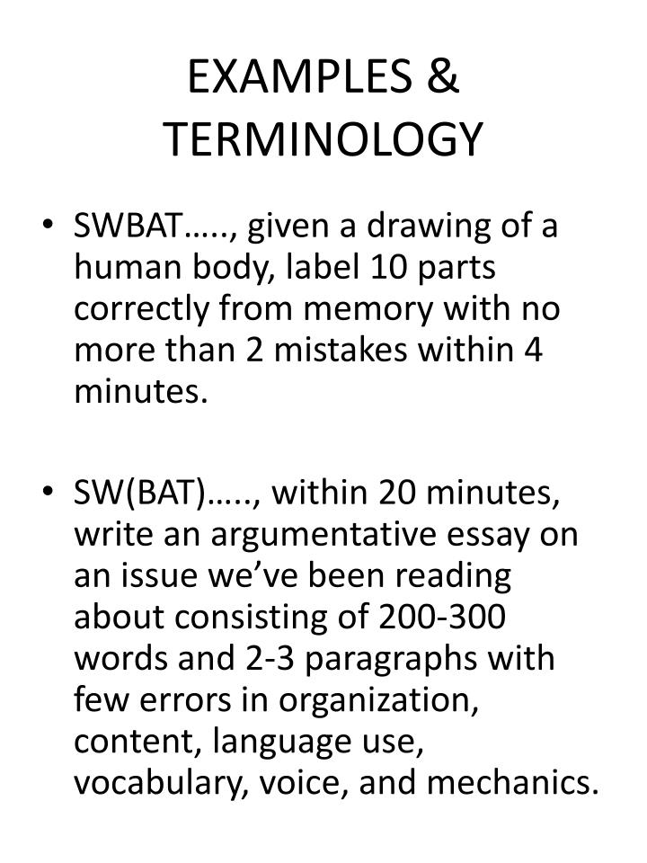 EXAMPLES & TERMINOLOGY