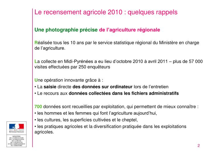Le recensement agricole 2010 : quelques rappels