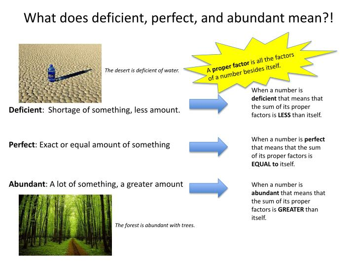 What does deficient, perfect, and abundant mean?!