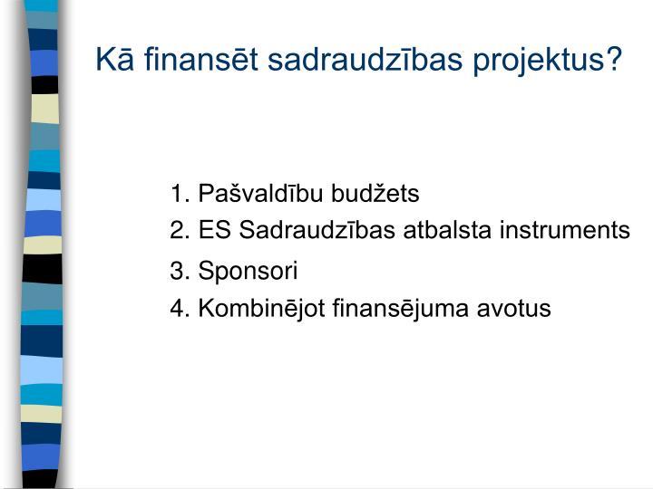 Kā finansēt sadraudzības projektus